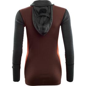 Aclima Warmwool Sweter z kapturem i zamkiem błyskawicznym Kobiety, marengo/bitter chocolate/burnt ochre